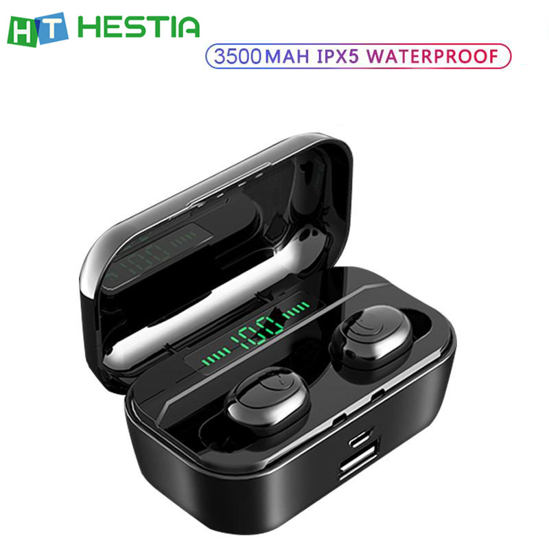 G6S fone de ouvido bluetooth TWS Controle de Volume do Fone de Ouvido sem fio LED Rápido Carregamento Sem Fio com 3500 mAh Banco De Potência Bateria de Longa Duração