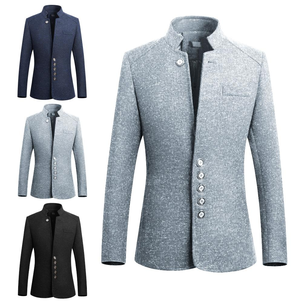 2019 Fashion Stand Collar Suit Jacket Slim Single Breasted Business Blazer Coat Elegant And Sleek Men's Business Wear For Unisex