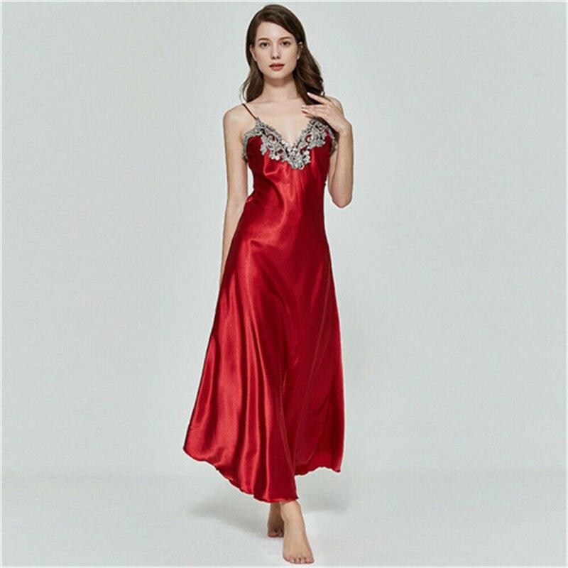 Hrigin Women Oversize Satin V-Neck Long Nightdress Silk Lace Sexy Lingerie Nightgown Sleepwear Sleepshirts Robe Dress Babydoll