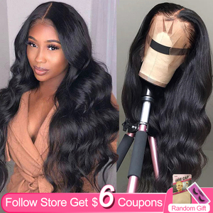 Aircabin 13x6 HD T Part Lace Front Wigs Brazilian Body Wave Remy Human Hair Glueless Deep Part 30 Inch Long Wigs For Black Women(China)