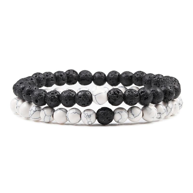 Hot Trendy Men Lava Stone Couples Distance Bracelets Natural Stone White Black Yin Yang Beaded Bangles For Women Friend Pulseira