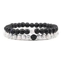 Hommes à la mode chaude pierre de lave Couples Distance Bracelets pierre naturelle blanc noir Yin Yang perlé Bracelets pour les femmes ami Pulseira