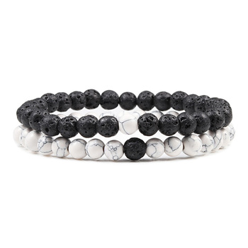 Hot Trendy Men Lava Stone Couples Distance Bracelets Natural Stone White Black Yin Yang Beaded Bangles For Women Friend Pulseira