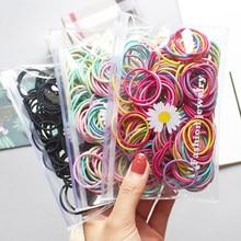 100 Stks/set Kinderen Meisjes Haarbanden Candy Kleur Haar Banden Kleurrijke Basic Eenvoudige Rubberen Band Elastische Scrunchies Haaraccessoires