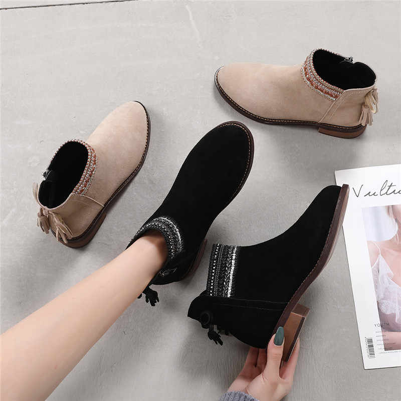 Nieuwe 2019 Herfst en Winter Chelsea Laarzen antislip en Slijtvast Vrouwen Mode Laarzen Schoenen Vrouwelijke