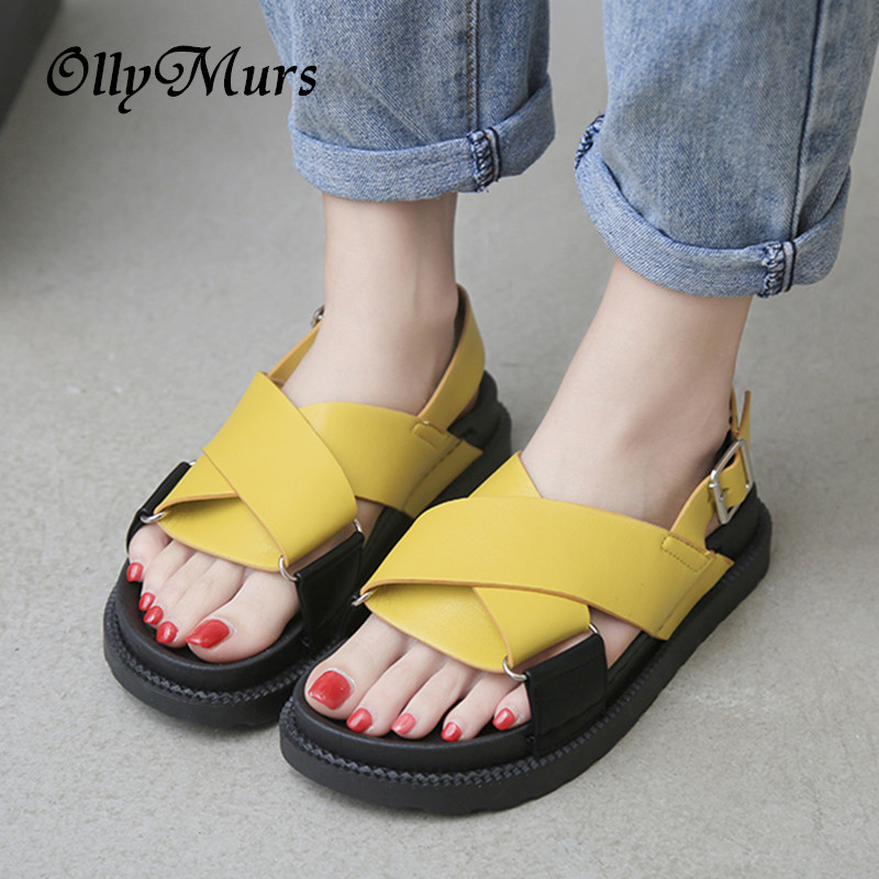 Summer Women Casual Shoes Slippers Rome Retro Thick Bottom Open Toe Sandals Beach Slip On Slides Fast Shipping Sapato Feminio