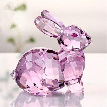 Cute rabbit Statue Simulation animal rabbi Crystal  Exquisite Upscale Desktop Decor Action Figure Collectible Model Toy