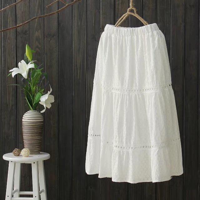 L9743 2017 Spring Mori Girl Literature And Art Pure Cotton Hollow Out Embroidery Flower Flounced Joint Elastic Waist Skirt Women