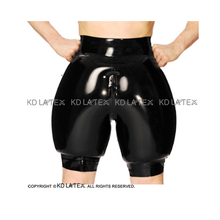 Black Inflatable Sexy Latex Boxer Shorts With Front Zipper Rubber Boy Shorts Underpants Underwear Pants DK-0180