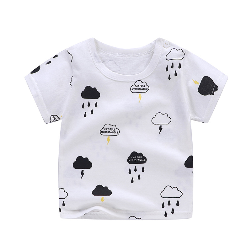 2-8Y Cartoon Print Baby Boys T Shirt For Summer Infant Kids Boys Girls Character T-Shirts Clothes Cotton Toddler Letter Tops