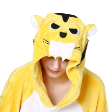 пижамаpajamaCartoon animal one-piece Pajama yellow tiger long sleeve home couple toilet version flannel female winter