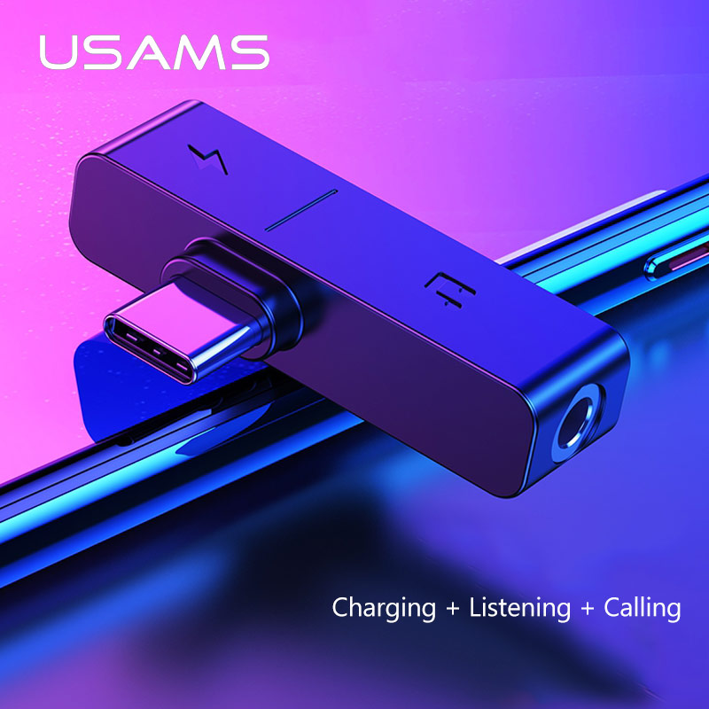 USAMS Type C To 3.5mm Adapter Jack Male To Famale USB C OTG Charging Adapter For Xiaomi 6 Samsung Mobile Phone Adapter