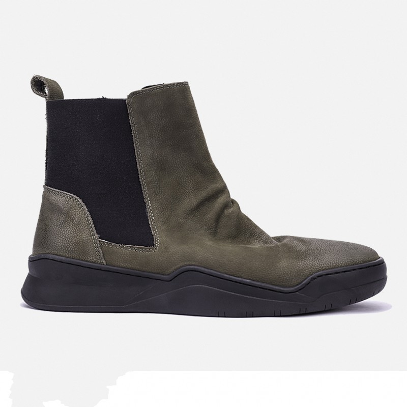 Vintage Chelsea Boots Men Japan Style Real Leather Cowhide Platform Ankle Shoes Autumn Winter Army Green Brand Work Safety Boots
