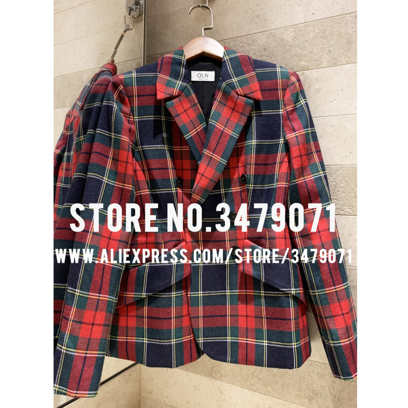 Striped Plaid Double-Breasted Jacket Temperament Casual Suit 2019 Women's Autumn Waist Wool Jacket Slim Fit Short Jacket