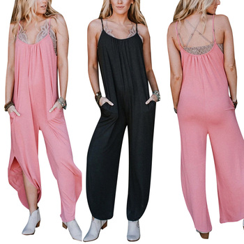AA Women's Sexy Sleeveless Romper Backless Split Design Solid Color Casual Loose Long Jumpsuit (S/M/L/XL) casual women s satchel with zips and solid color design