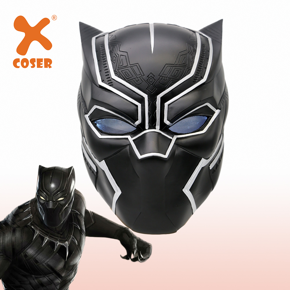 XCOSER Captain America Black Panther Mask Resin Helmet Props Halloween Cosplay Costume Party Cool Cosplay Accessories Mask LED