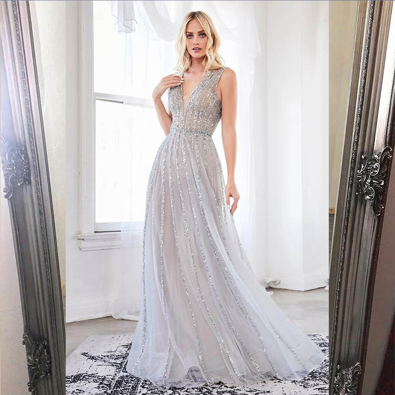 YQLNNE 2020 Couture Silver Long Evening Dress Sexy Deep V Neck Tulle Crystals Beaded Backless Evening Gowns Robe De Soiree