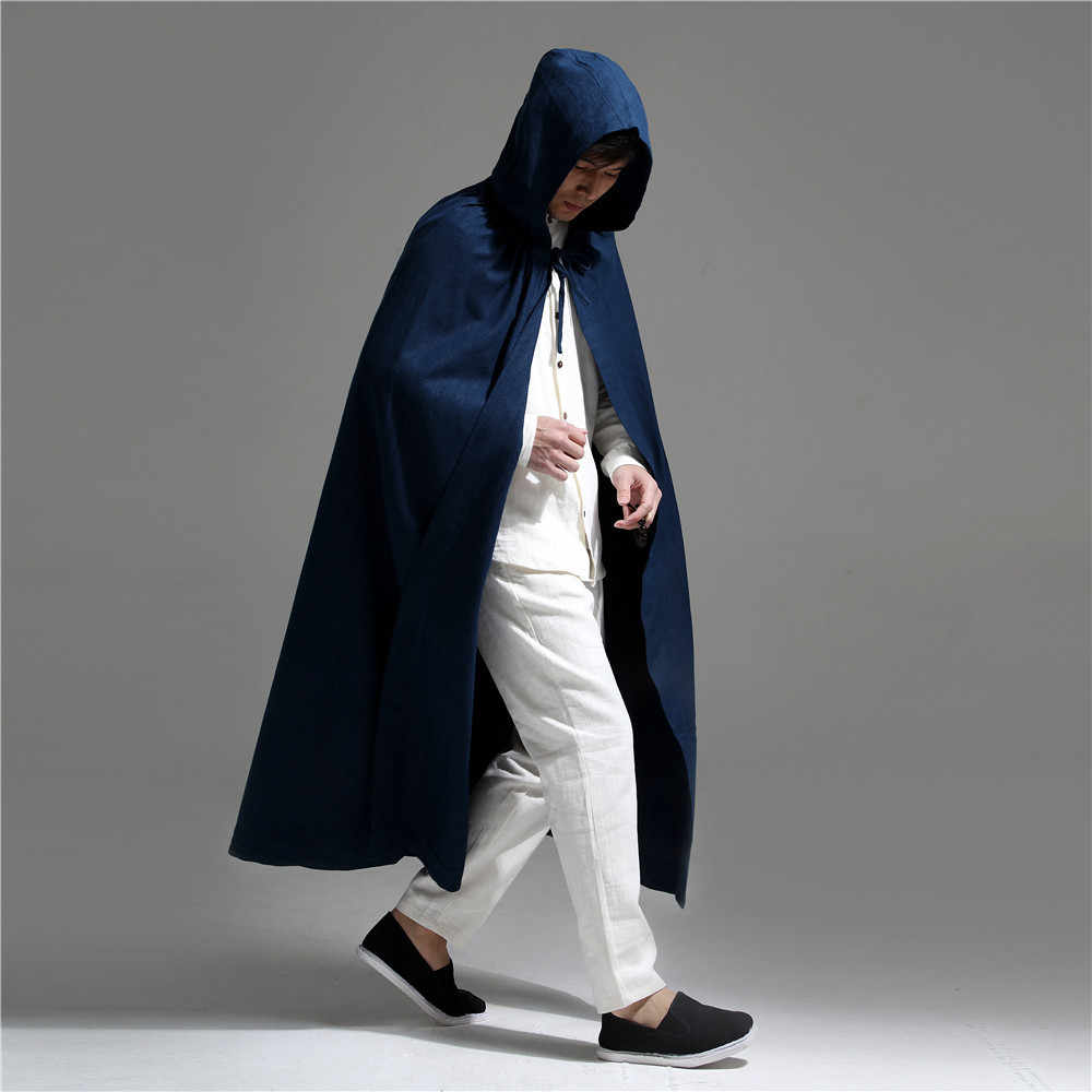 Moda abrigo largo rojo con capucha para Hombres estilo chino de algodón de lino para hombre gabardina alta calidad suelta Casual Ponchos y capas hombre
