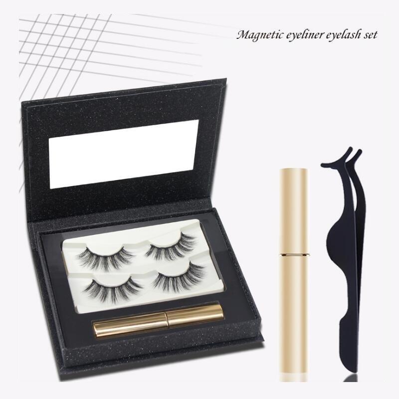 3D maquiagem False Eyelash with Liquid Eyeliner& Magnetic False Eyelashes & Tweezer Set makeup eyelash extension