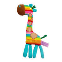 Tony Lvee Soft Lightweight Cute Giraffe Shape Infant Handbell Baby Rattle Washable Ring Bell Rainbow Color Early Educational Toy