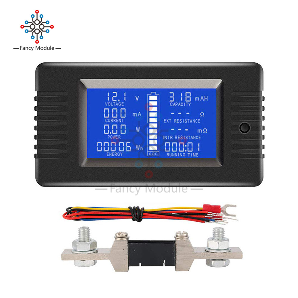 Diymore PZEM-015 200A Shunt Battery Tester Voltage Amp Power Capacity Internal & External Resistance Residual Electricity Meter