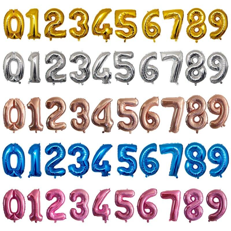 32 дюйма, 1 шт., воздушные шары из фольги с цифрами 0, 1, 2, 3, 4, 5, 6, 7, 8, 9, праздничные розовые и синие шары для дня рождения