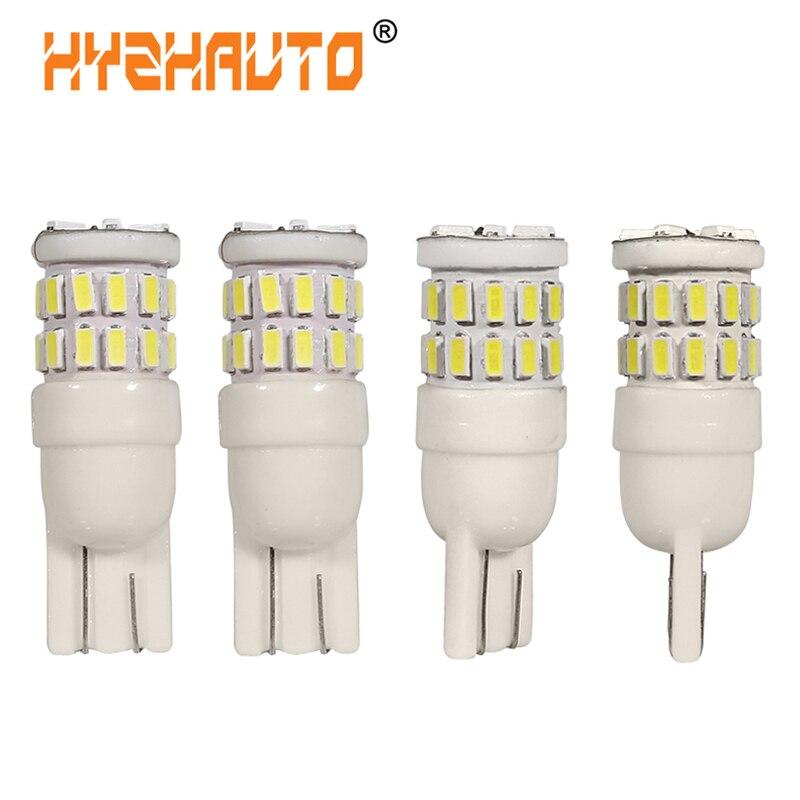 HYZHAUTO 4 шт. керамические светодиодные лампы T10 W5W 30 SMD 3014 светодиодсветильник лампы для внутреннего освещения чтения чисто белые 6000K Автомобил...