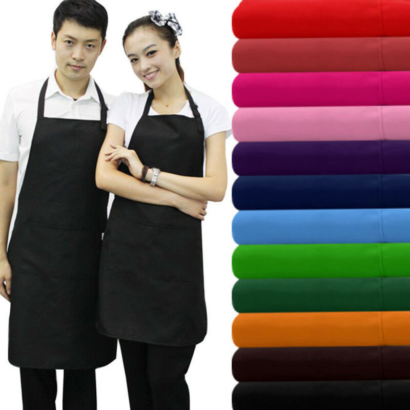8 Colors Plain Apron+Pocket For Chefs Butcher Kitchen Cooking Craft Baking