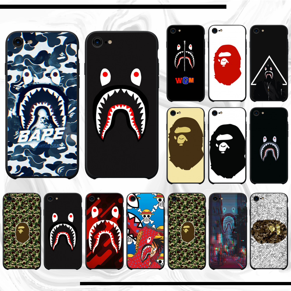 For Iphone 11 Case BAPE Soft Black Phone Case For Iphone 11 Pro Max X Xs Xr 7 8 Plus 6 6s 5 5s 5se