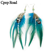 Cpop Boho Nature Colorful Feather Earrings Stone Beads Pendant Statement Ethnic Earring Jewelry Women Accessories