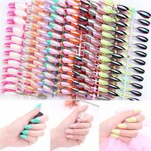 24 шт блестящие металлические накладные ногти полное покрытие стилет гроб поддельные ногти ABS искусственные Типсы украшения для ногтей женский макияж Nai