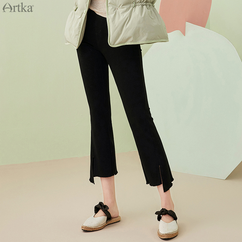 Artka 2020 Autumn New Women Jeans Fashion High Waist Skinny Black Jeans Casual Denim Flare Pants High Stretch Jeans Ka20103q