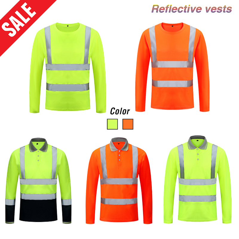 Unisex High Visibility Reflective Safety T-shirt Quick Drying Long Sleeve Workwear Outdoor Construction Protective Work Clothes title=