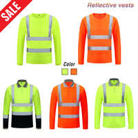 Unisex High Visibility Reflective Safety T-shirt Quick Drying Long Sleeve Workwear Outdoor Construction Protective Work Clothes