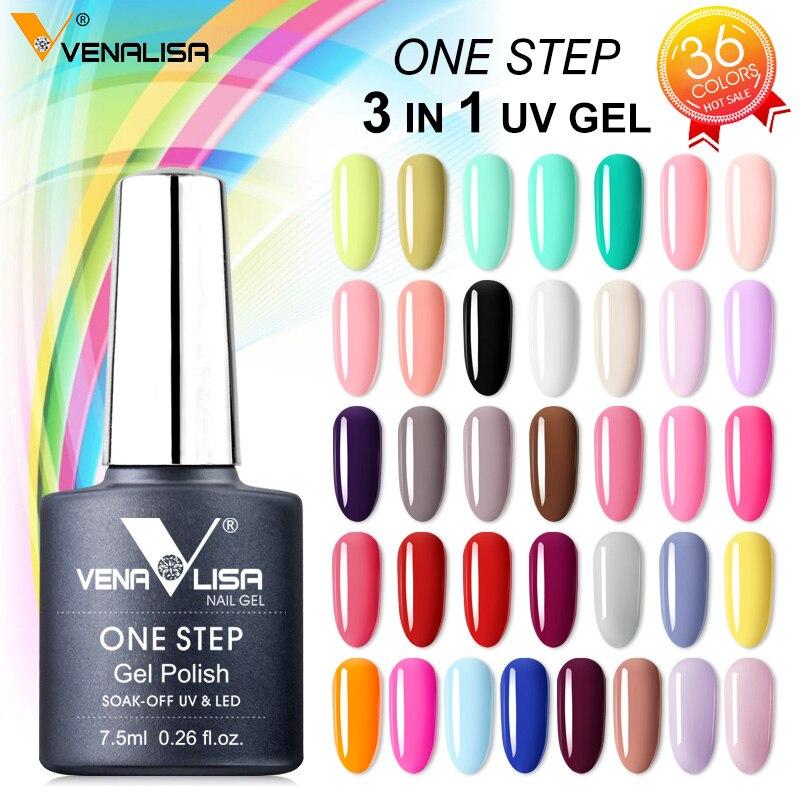 3 In 1 UV Gel Polish One Step Gel Lacquer VENALISA Soak Off Organic UV LED Nail Gel Varnish Nail Art Salon New Arrival Varnish