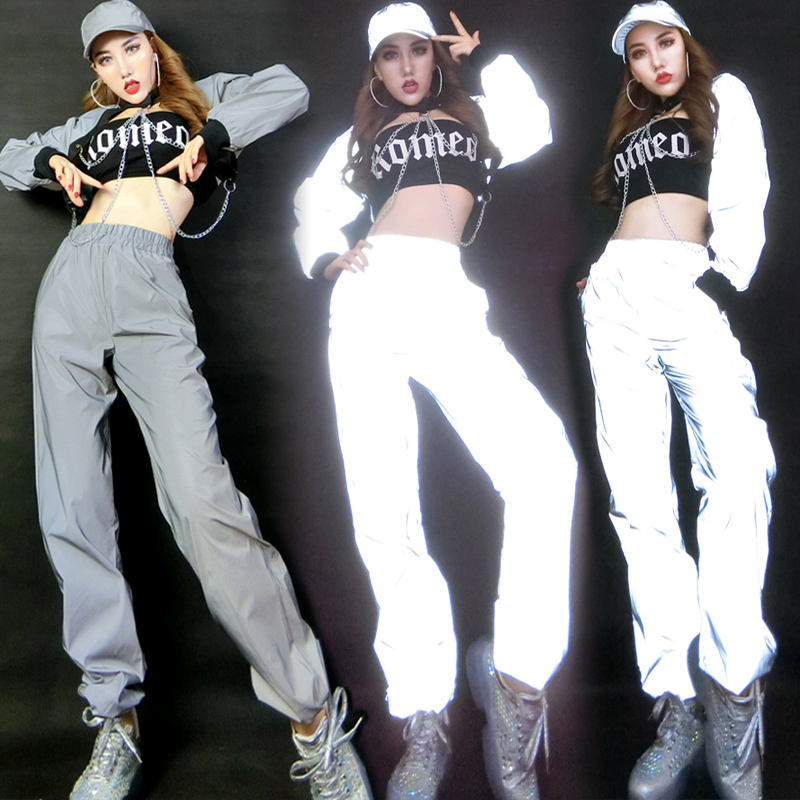 Stage Costumes For Singers Fashion Reflective Chain Top Pants Festival Outfit Lady Hip Hop Clothing Street Dancing Wear DNV12157