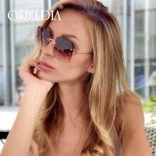New Luxury Square Sunglasses Women Fashion Rimless Sun Glass