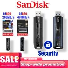 SanDisk EXTREME PRO USB 3.1 솔리드 스테이트 플래시 64G 128GB 256GB 초고속 솔리드 스테이트 성능 USB 플래시 드라이브 최대