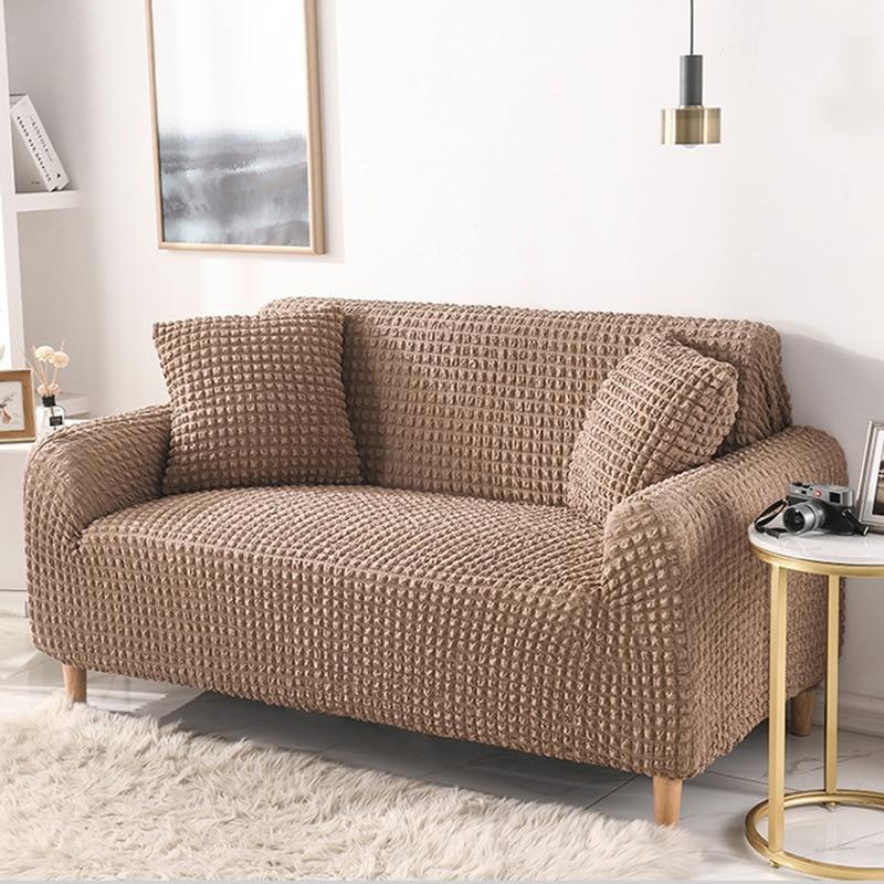 Capa de sofá de cor sólida elástica para sala de estar xadrez estiramento secional slipcovers sofá capa l forma 1-4 seater
