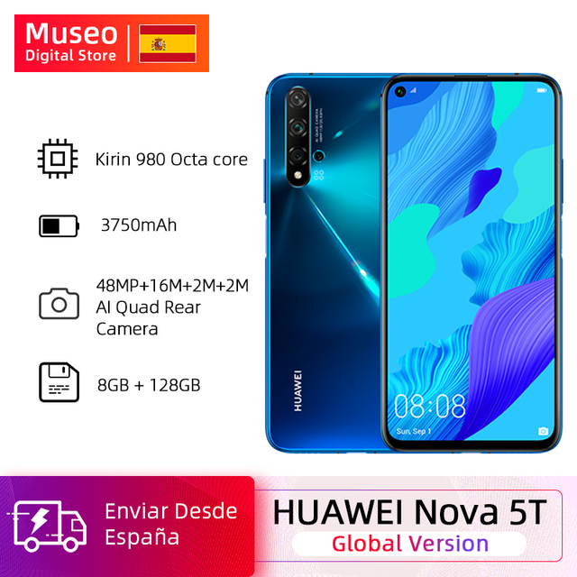 Global version Huawei Nova 5T 5 T 8GB 128GB Smartphone 48MP Cameras front Camera 32MP 6.26 ''Screen Kirin 980 Android 9