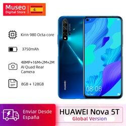 Versão global huawei nova 5t 5 t 8 gb 128 gb smartphone 48mp câmeras câmera frontal 32mp 6.26 kirkirtela kirin 980 android 9