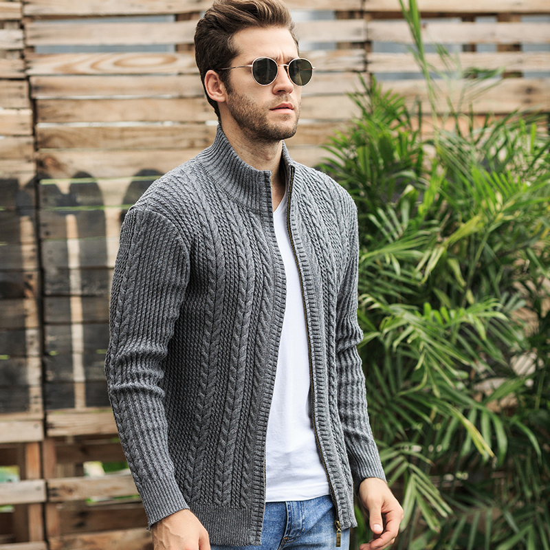 Autumn Sweater Men Fashion Jacquard Warm Cardigan Men Solid Color Zipper Collar Turtleneck Men M-XXXL Warm Knitted Wear