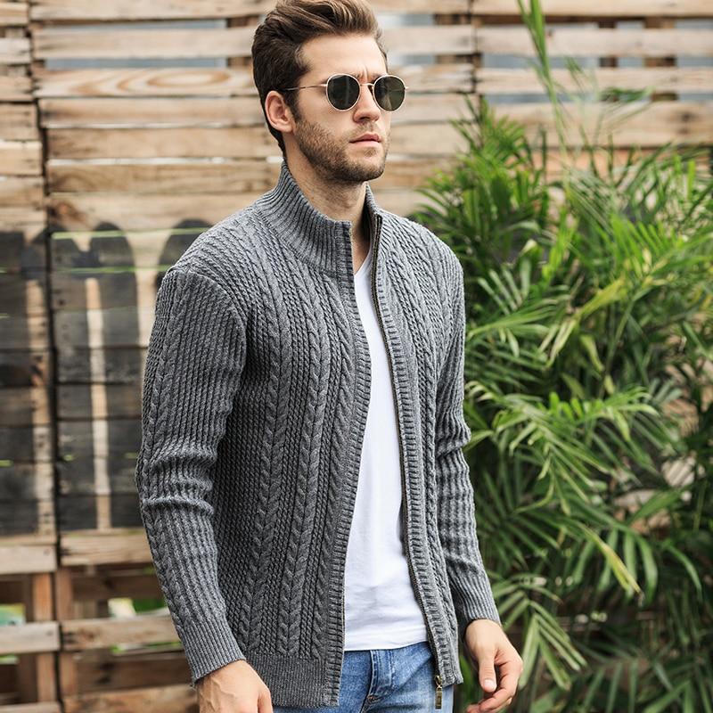 Autumn Sweater Men Fashion Jacquard Warm Cardigan Men Solid Color Zipper Collar Turtleneck Men M-XXXL Warm Knitted Wear