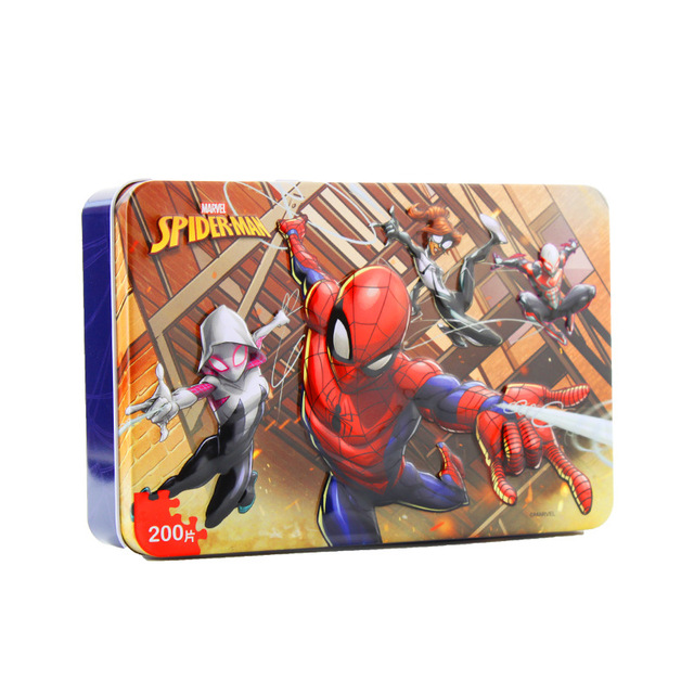 Disney Marvel Spider-Man Avengers Jigsaw Puzzle 200 Pieces Tin Box Wooden Toy Jigsaw Puzzle Children's Puzzle Educational Toy