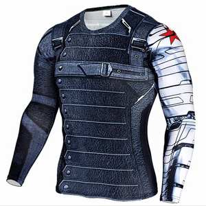 Mens Compression Shirt Superhero Superman Capitan America Iron Man 3D T Shirt Brand Clothing Fitness Men Long Sleeve T-Shirt