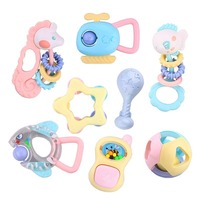 8 Pcs Baby Rattle Set Baby Mobile Cute Baby Toys Teether Cartoon Animal Hand Bell Baby Rattles Toys Baby Hand Toys Toddler Toys