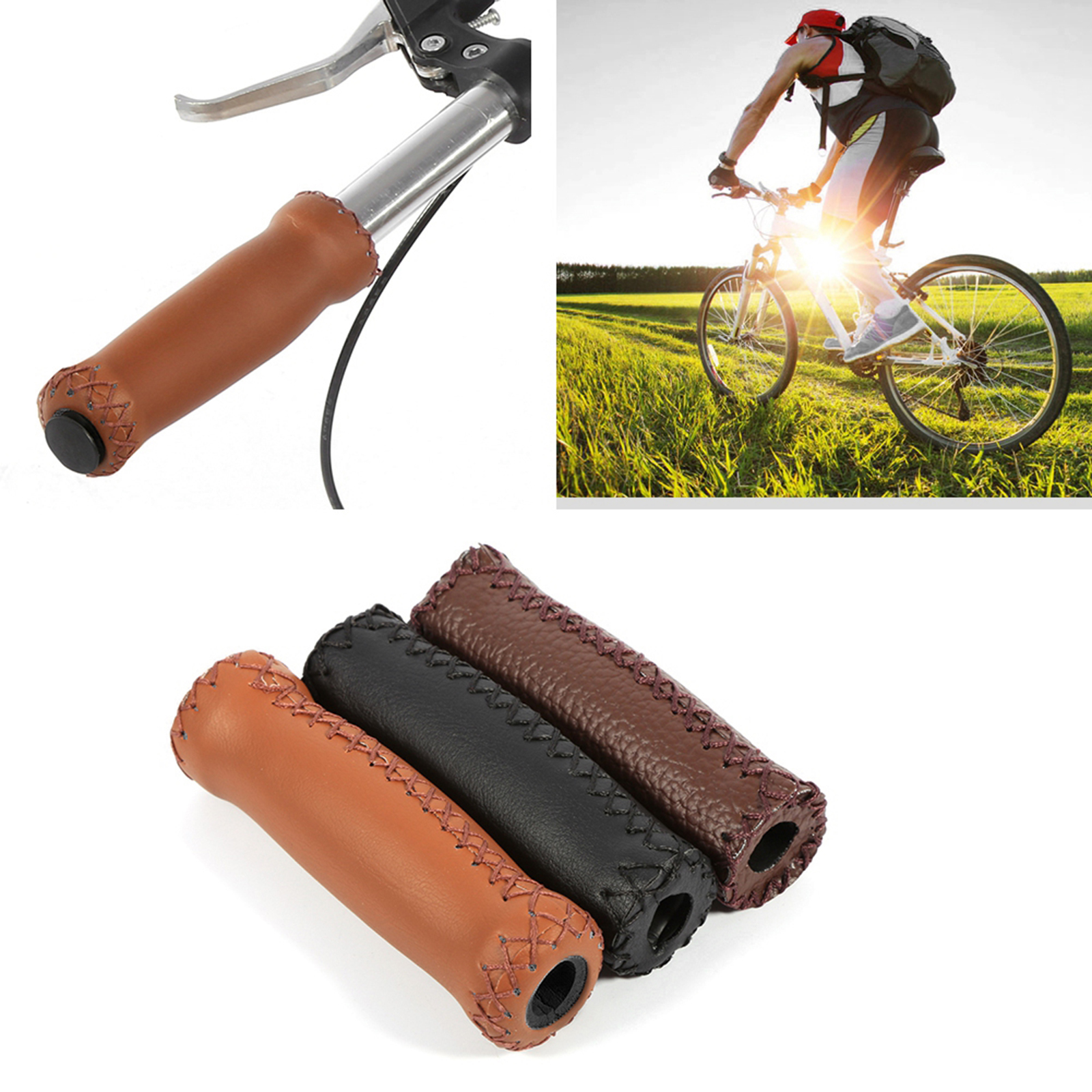 1 Pair Vintage Brown Bike Bicycle PU Leather Cycling Handlebars Cover Grips Bar