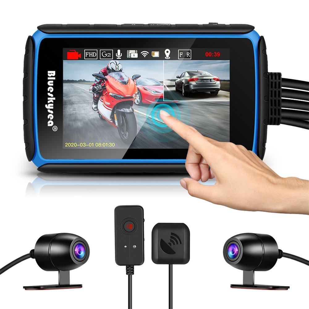 Cámara de salpicadero para motocicleta DV988, WiFi, GPS, con pantalla táctil, lente Dual de 1080P, grabación de bicicleta, DVR, impermeable, Camara moto