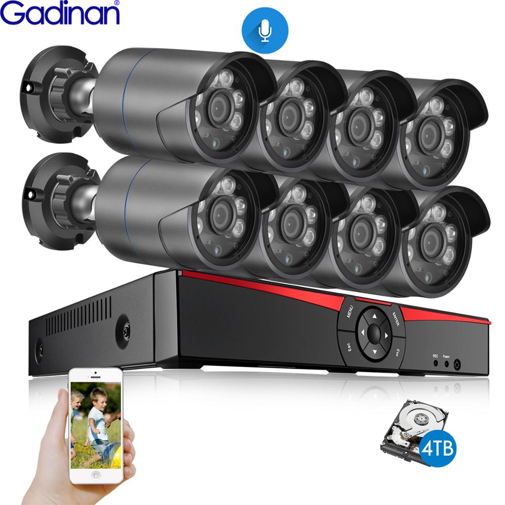 Gadinan H.265 8 Channel 4MP POE System Kit Audio Bullet IP Security Camera IR Outdoor Waterproof CCTV Video Surveillance NVR Set