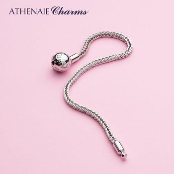 ATHENAIE 925 Sterling Silver Classic Wheat Chain Charms Bracelet with Openable Clasp for trollbeadsBracelets Women/Men Jewelry